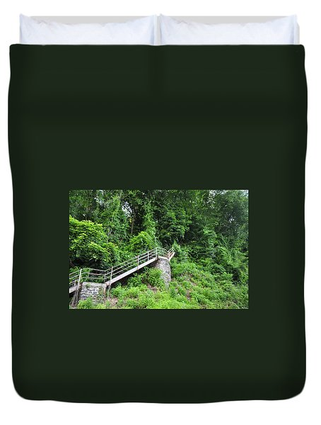 Manayunk - Steps From The Wissahickon Train Station Duvet Cover by Bill Cannon