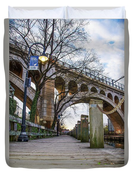 Manayunk - Towpath And Bridge Duvet Cover by Bill Cannon