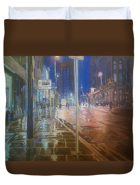 Manchester At Night Duvet Cover