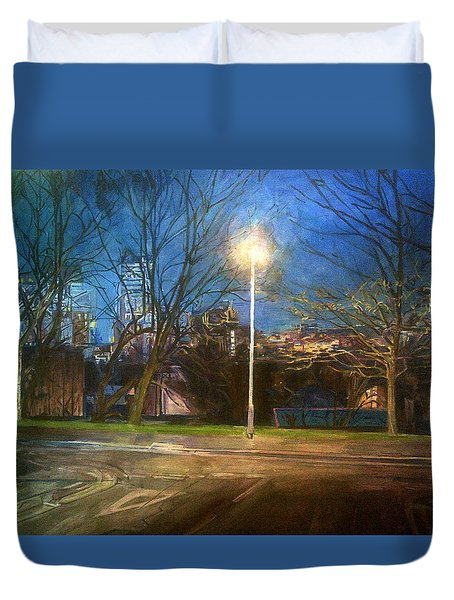 Manchester Street With Light And Trees Duvet Cover