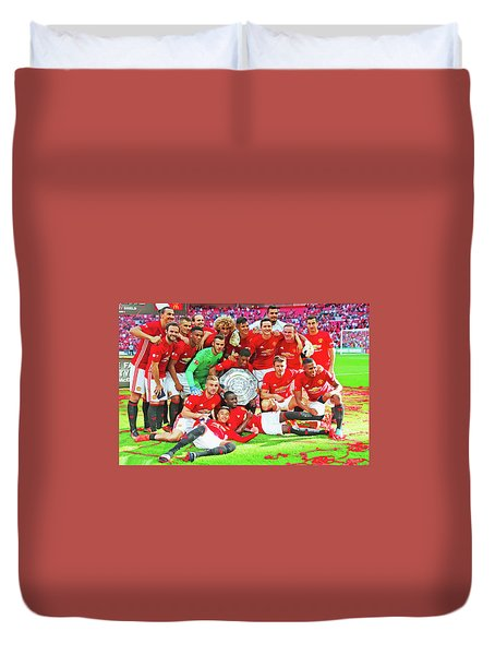 Manchester United Celebrates Duvet Cover by Don Kuing