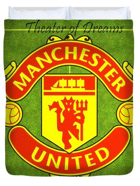 Manchester United Theater Of Dreams Large Canvas Art, Canvas Print, Large Art, Large Wall Decor Duvet Cover by David Millenheft