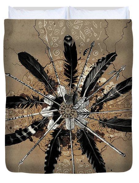 Mandala Arrow Feathers Duvet Cover
