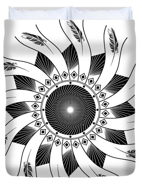 Duvet Cover featuring the digital art Mandala Black And White by Linda Lees