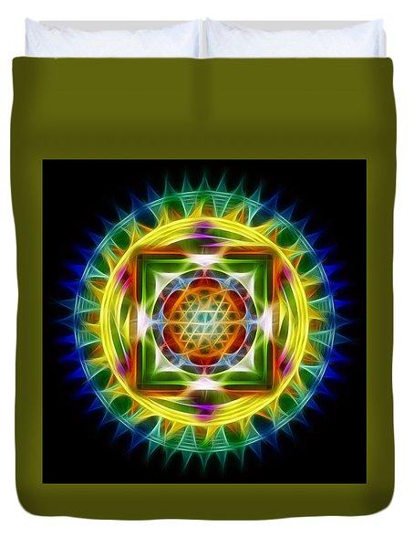 Duvet Cover featuring the digital art Mandala Electric by Mario Carini