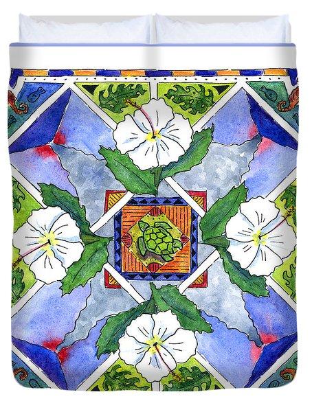 Mandala IIi - White Hibiscus Duvet Cover by Diane Thornton