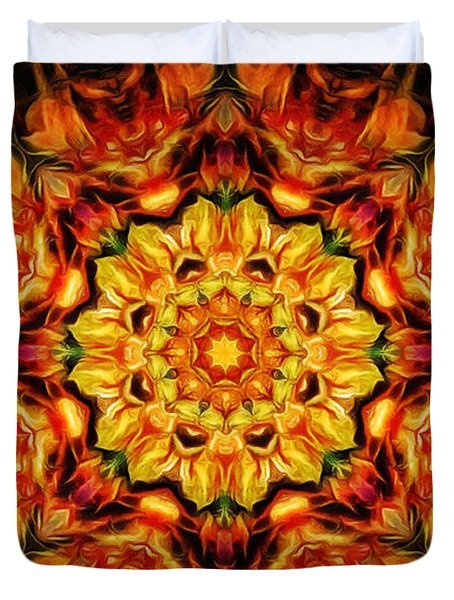 Mandala Of The Sun In A Dark Kingdom Duvet Cover