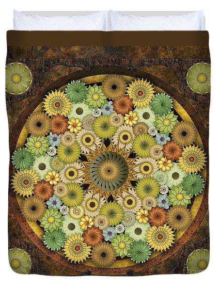 Mandala Stone Flowers Duvet Cover