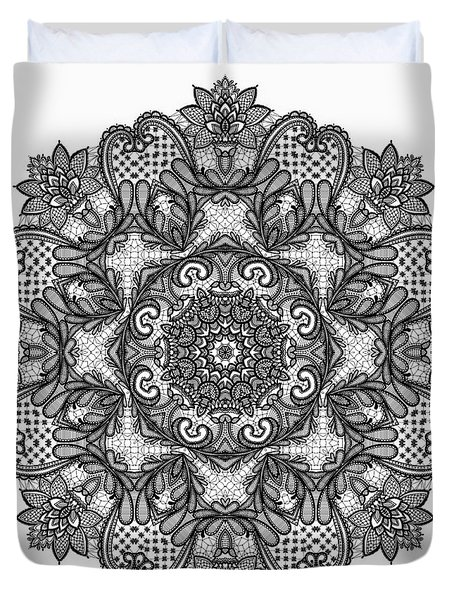 Mandala To Color 2 Duvet Cover by Mo T