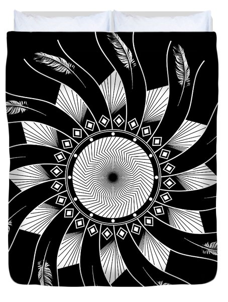 Duvet Cover featuring the digital art Mandala White And Black by Linda Lees