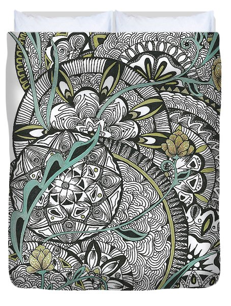 Mandalas With Gold Flowers Duvet Cover