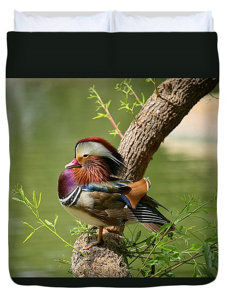 Mandarin Duck On Tree Duvet Cover