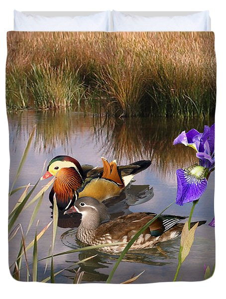 Mandarin Ducks And Wild Iris Duvet Cover