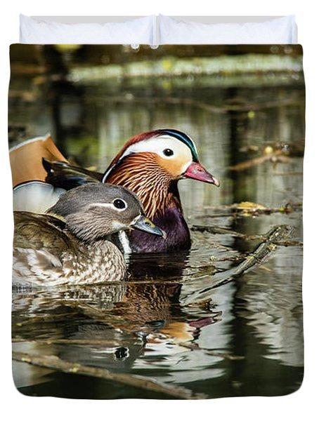Mandarin Ducks The Couple Duvet Cover by Torbjorn Swenelius