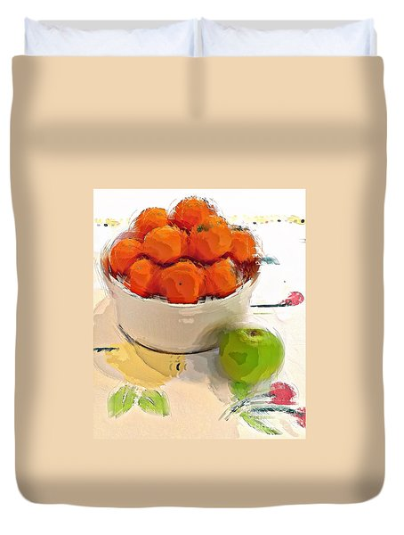Mandarin With Apple Duvet Cover