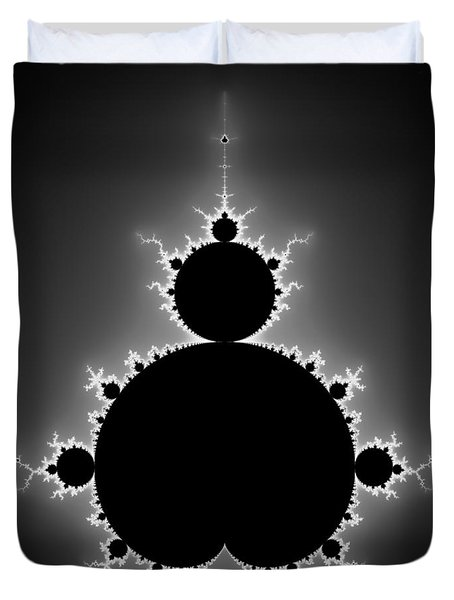 Mandelbrot Set Black And White Fractal Art Duvet Cover