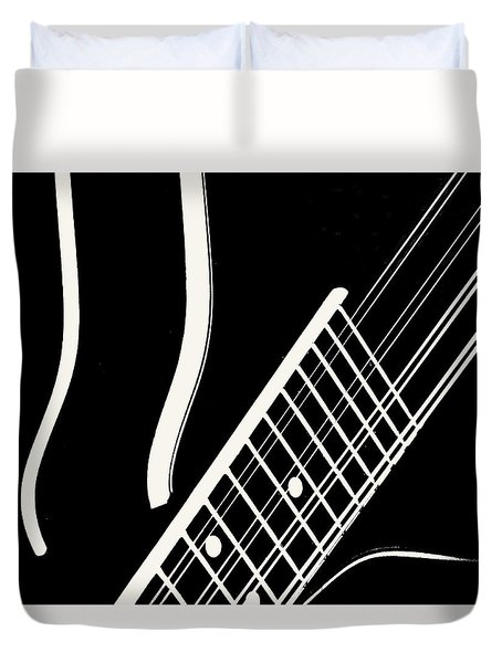 Duvet Cover featuring the digital art Mandolin Close Bw by Jana Russon