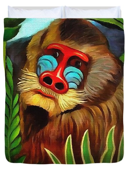 Mandrill In The Jungle Duvet Cover