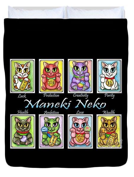 Duvet Cover featuring the painting Maneki Neko Luck Cats by Carrie Hawks