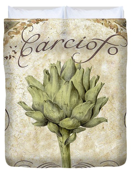 Mangia Carciofo Artichoke Duvet Cover by Mindy Sommers