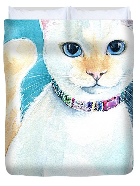 Mango - Flame Point Siamese Cat Painting Duvet Cover
