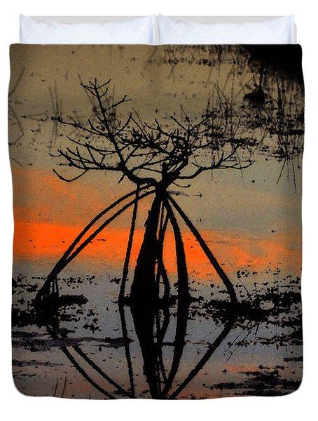Mangrove Silhouette Duvet Cover by David Lee Thompson