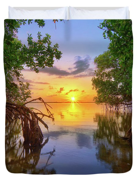 Mangrove Sunset From Jensen Beach Florida Duvet Cover