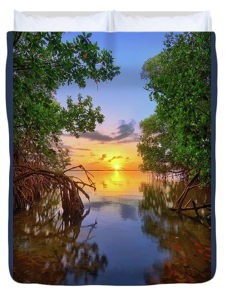 Mangrove Sunset From Jensen Beach Florida Duvet Cover by Justin Kelefas