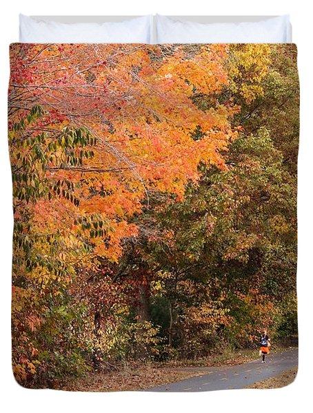 Manhan Rail Trail Fall Colors Duvet Cover