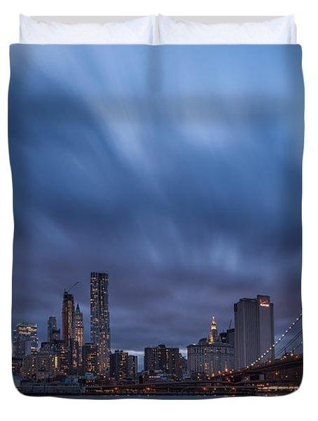 Manhattan And Brooklyn Bridge Duvet Cover