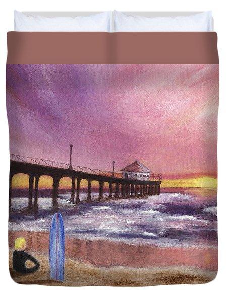Manhattan Beach Pier Duvet Cover by Jamie Frier