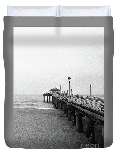 Manhattan Beach Pier On Film Duvet Cover
