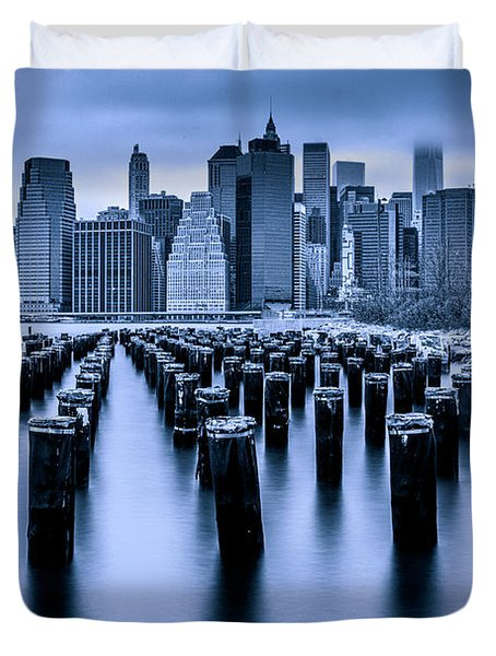 Duvet Cover featuring the photograph Manhattan Blues by Chris Lord