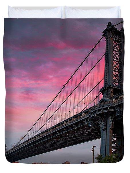 Duvet Cover featuring the photograph Manhattan Bridge At Sunrise  by Emmanuel Panagiotakis
