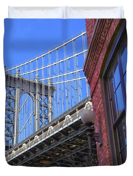 Duvet Cover featuring the photograph Manhattan Bridge by Mitch Cat