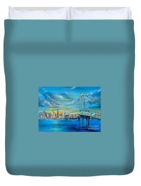 Manhattan Bridge Duvet Cover by Patrice Torrillo