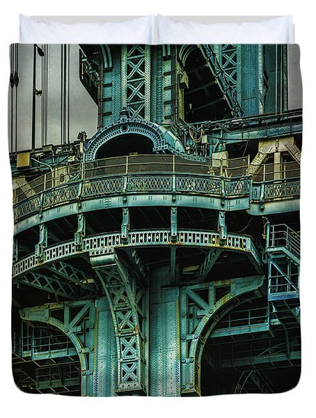 Duvet Cover featuring the photograph Manhattan Bridge Tower by Chris Lord