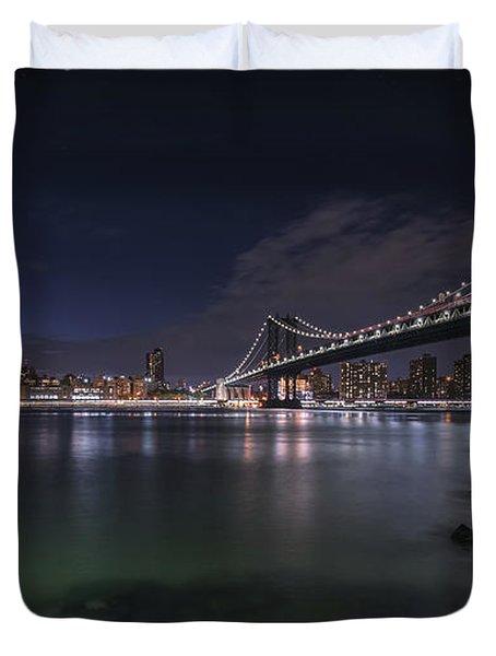 Manhattan Bridge Twinkles At Night Duvet Cover