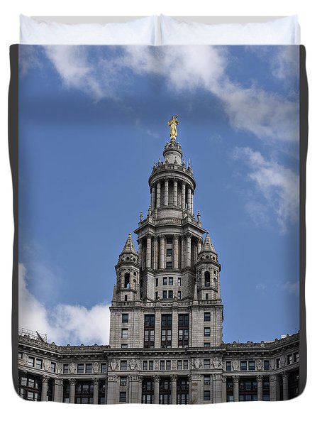 Manhattan City Hall Duvet Cover by Judy Wolinsky