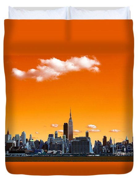 Duvet Cover featuring the photograph Manhattan Days Pop Art by John Rizzuto