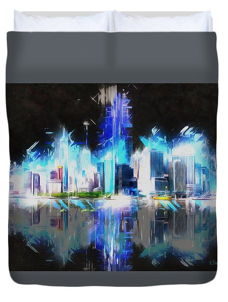 Duvet Cover featuring the painting Manhattan Downtown Lights by Kai Saarto