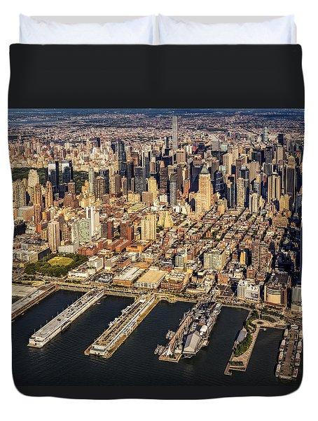 Manhattan New York City Aerial View Duvet Cover by Susan Candelario