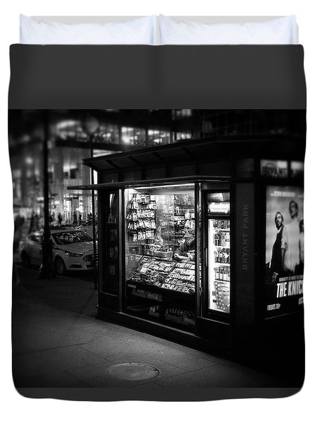 Duvet Cover featuring the photograph Manhattan Newsstand, 42nd Street by Ross Henton