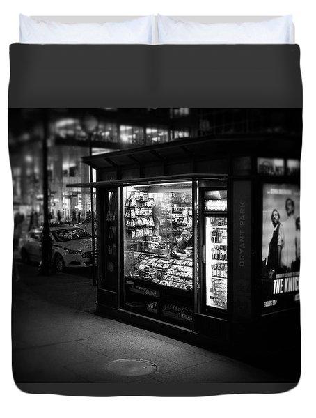 Manhattan Newsstand, 42nd Street Duvet Cover