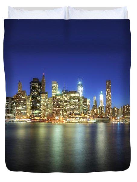 Manhattan Nite Lites Nyc Duvet Cover by Yhun Suarez
