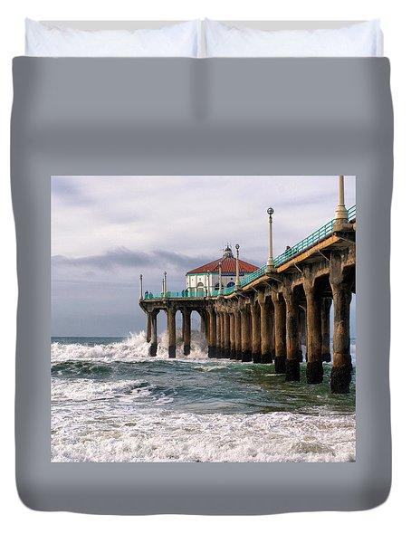 Manhattan Pier Surf Duvet Cover