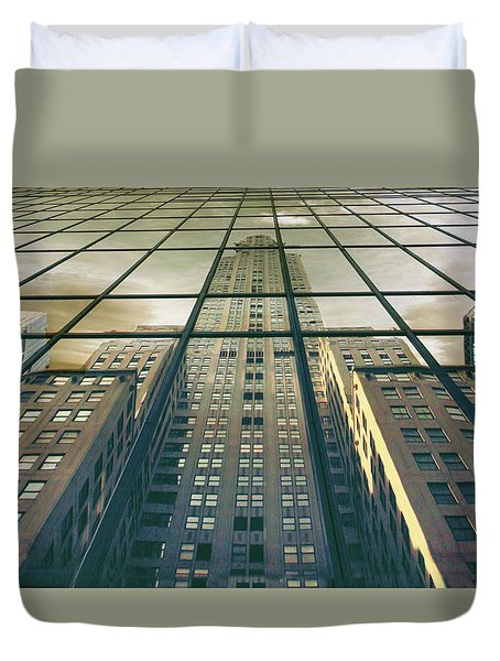Duvet Cover featuring the photograph Manhattan Reflected by Jessica Jenney