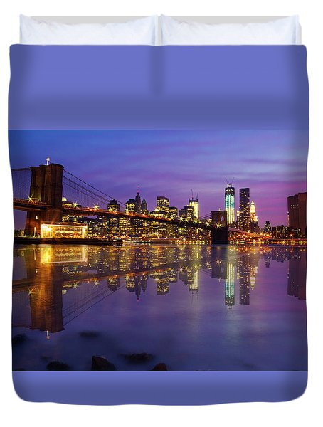 Duvet Cover featuring the photograph Manhattan Reflection by Mircea Costina Photography