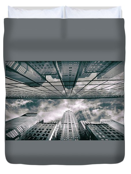 Duvet Cover featuring the photograph Manhattan Reflections by Jessica Jenney