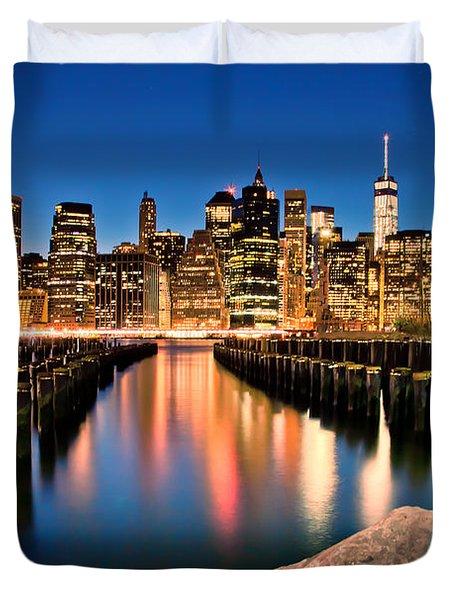 Manhattan Skyline At Dusk Duvet Cover